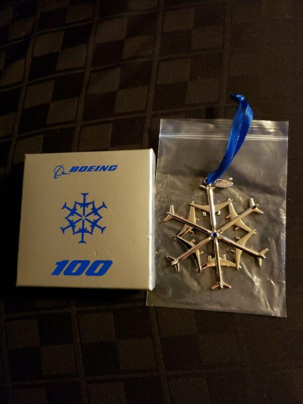Boeing 100 Year Waterford Nickel-Plated Zinc Snowflake Christmas Ornament