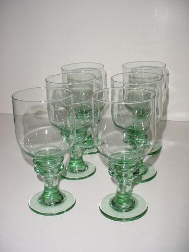 """Lot of Six (6) Green Glass Water or Wine Goblets With Bump Knot Stems - 7"""" Tall"""