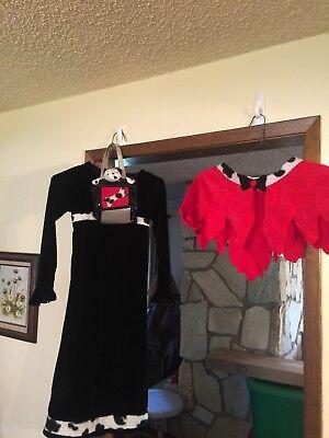 GIRL'S 101 Dalmatians Evil CRUELLA DEVILLE Halloween Costume DRESS Velvet Cape - Cruella Deville Girls Costume