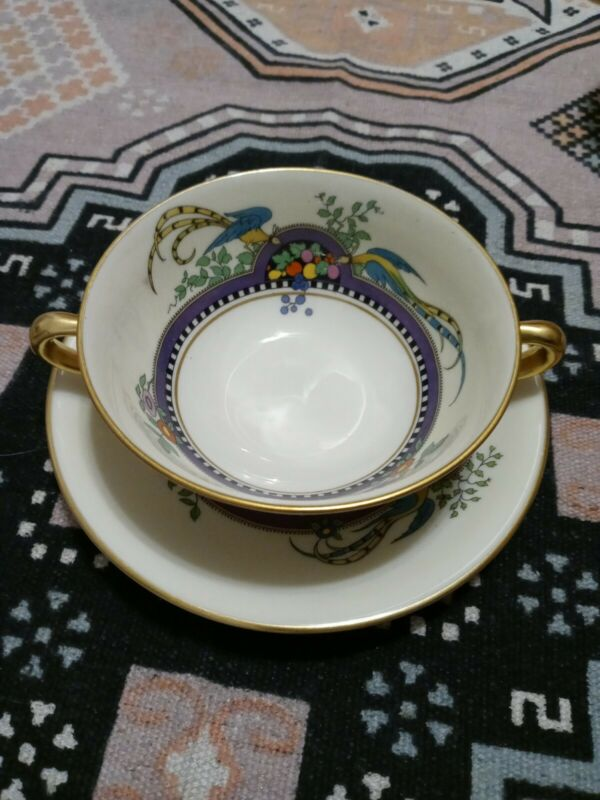 "4 Lenox Florida Cream Soup Bowls with 6"" under plates excellent"