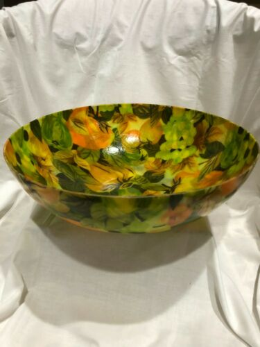 "fiberglass Large  serving bowl 12 1/2"" in diameter ( Fruit Design )"