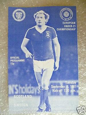 1981 SCOTLAND v SWEDEN, 8th Sept- Under 21 European Championship
