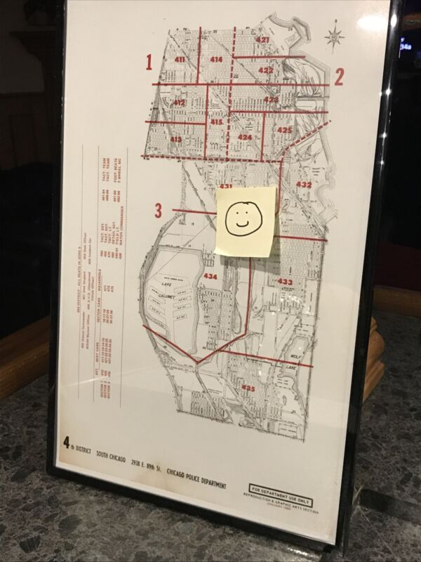 Vintage Chicago Police South Chicago 4th District Beat Map
