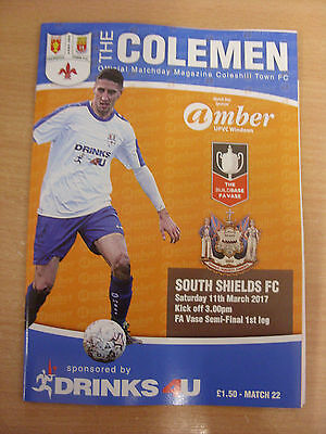 11/03/2017 FA Vase Semi-Final: Coleshill Town v South Shields Official Programme
