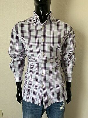 ISAIA Long Sleeve Purple & White Plaid Dress Shirt Size  16 1/2 (42)