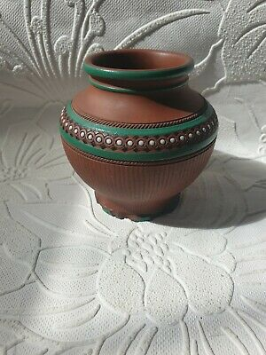 Old Embossed & Painted Small Teracotta Pot