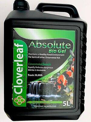 Cloverleaf Absolute Bio Gel 5L Filter Start Reduces Ammonia & Nitrite Koi Ponds