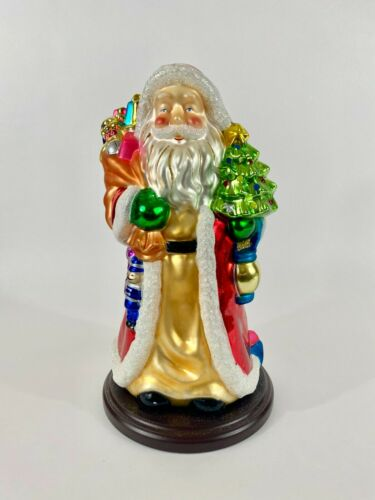 "THOMAS PACCONI 2004 Santa Blown Glass 17"" Santa Wooden Base Christmas"