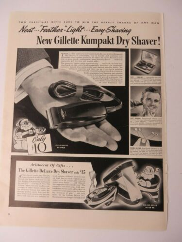 Vintage 1939 Ad Gillette Kumpakt Dry Electric Shaver 14 by 10.5 Inches #5547
