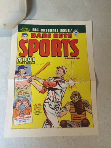 BABE RUTH SPORTS #9 COVER ART original cover proof 1950 w/PRINTER INVOICE, RARE