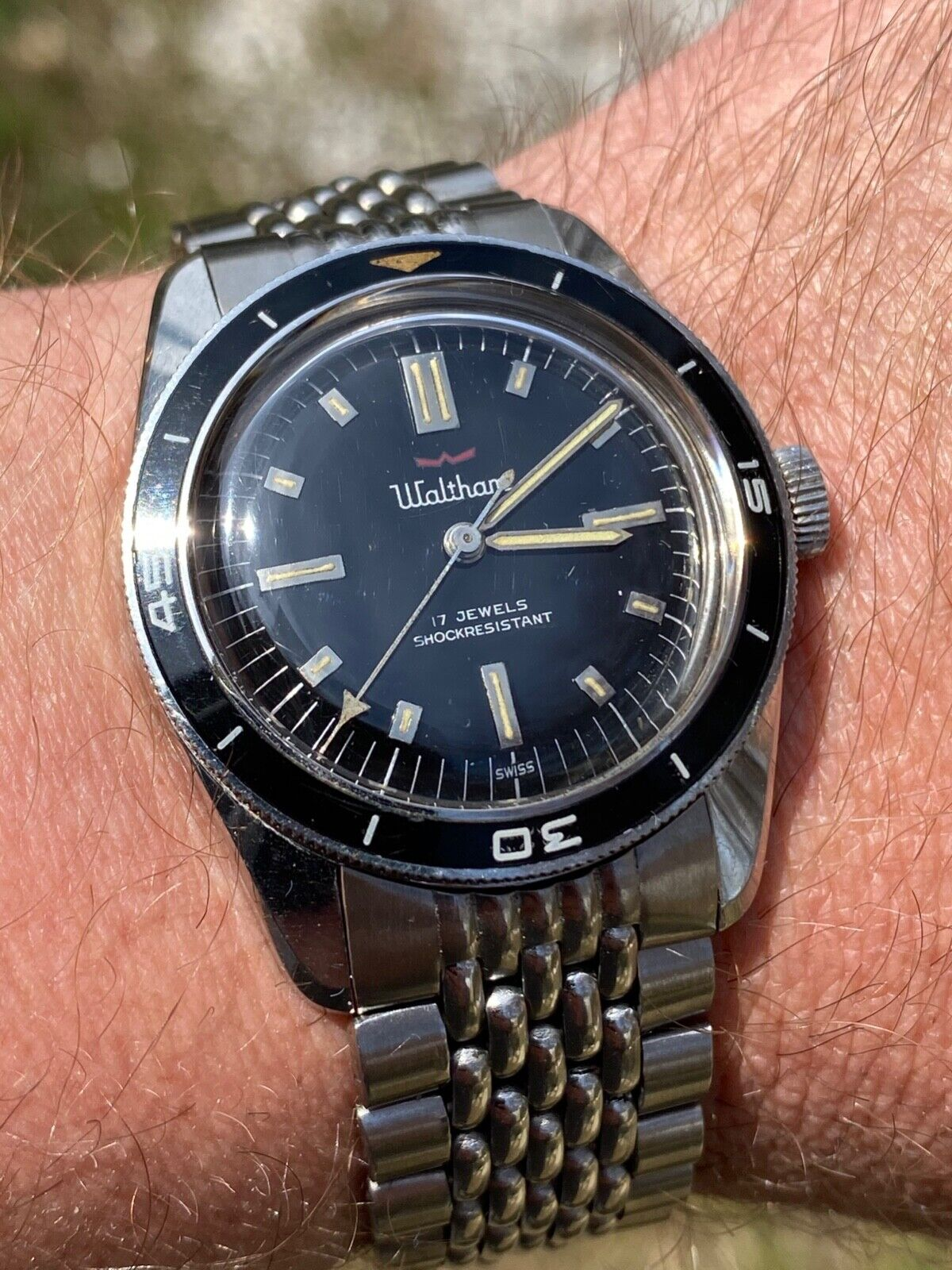 Vintage Waltham Blancpain Bathyscaphe Diver Watch Paul Newman Bakelite Bezel  - watch picture 1