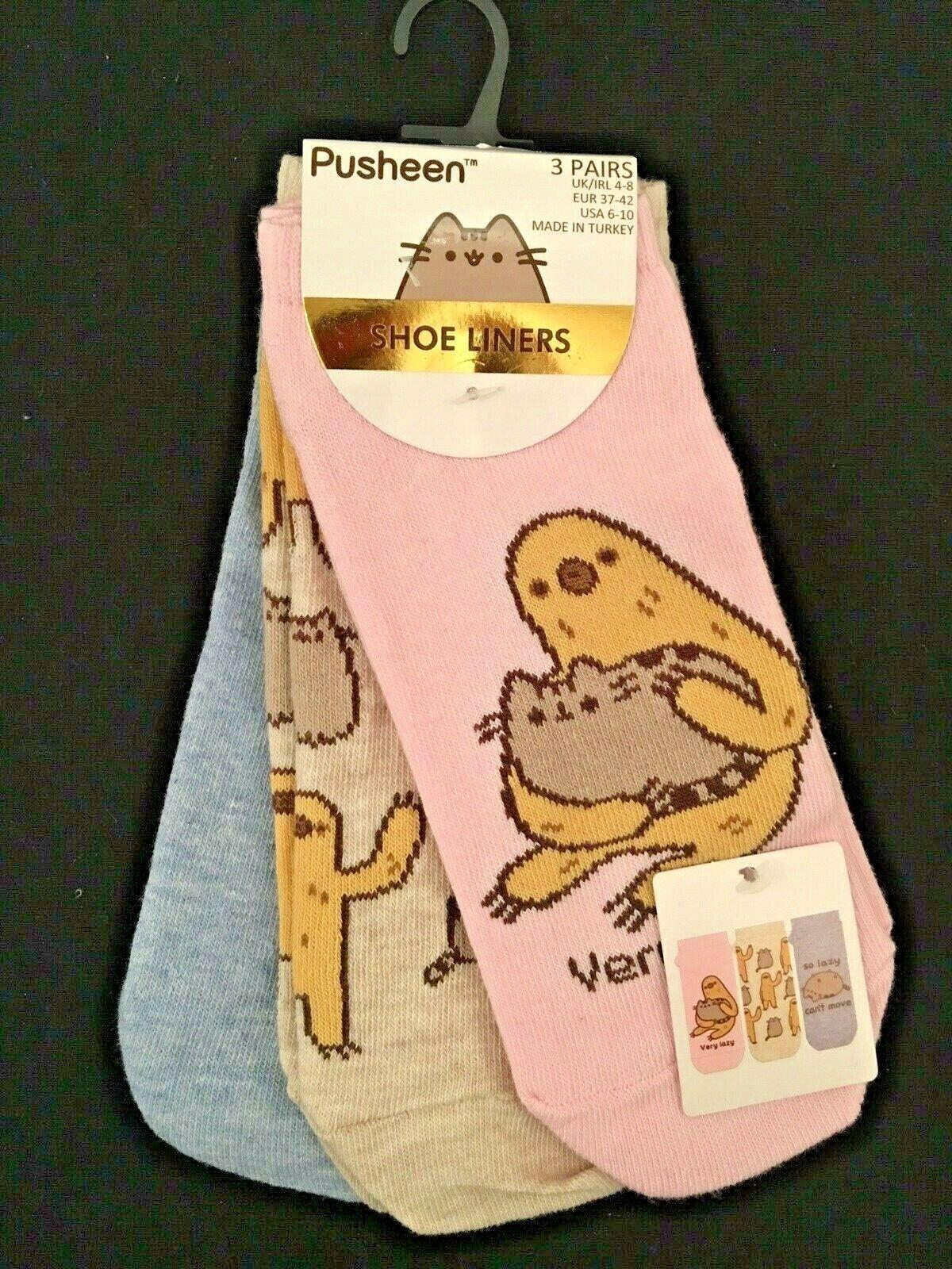 3 Paar Pusheen Katze Cat Faultier Socken Shoe Liners Sneaker socks  knöchel