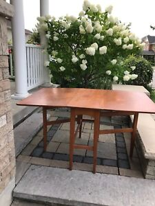 Vintage Drop-Leaf Teak Table