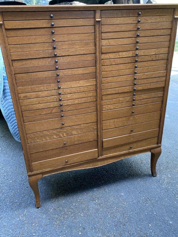 Antique Quartersawn Oak 42 Drawer File Cabinet Tindale Cabinet Co.