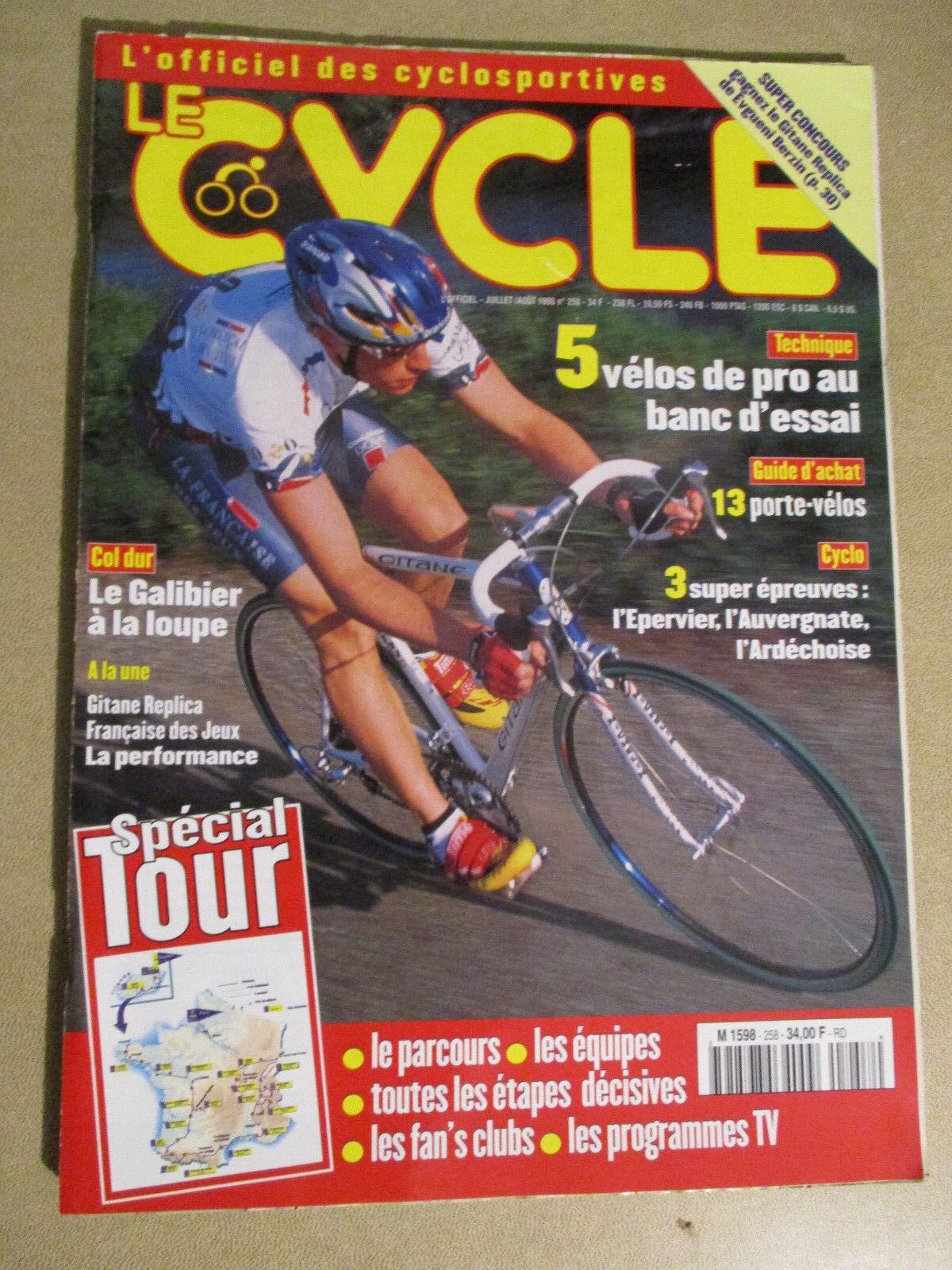 LE CYCLE N°258 : JUILLET 1998 : GUIDE DU TOUR DE FRANCE AVEC CARTE POSTER