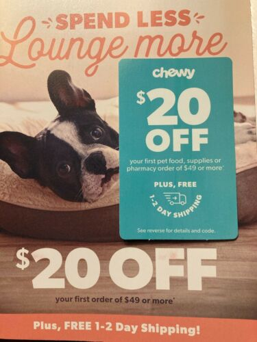 CHEWY $20 OFF First Pet Food, Supplies...Order of $49 chewy.com Expires 7/31/21