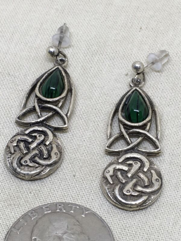 """Sterling Silver 1.5"""" Celtic Miracle Green Stone Earrings 7g (1-12)"""