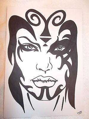 A4 Black Ink Marker Pen Sketch Sith Darth Talon Face Star Wars