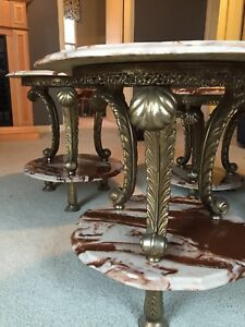 Antique marble and brass coffee and end table set of 3
