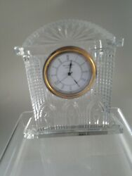 Waterford Crystal Mantle Carriage Westminster Clock - 6 3/4 Tall x 6 1/4 wide