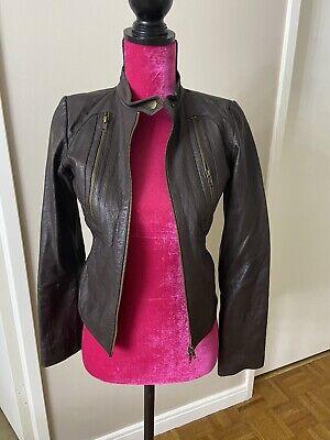 Bcbg Brown Leather Jacket XS