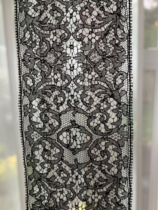 Rare Antique Embroidered Lace Trim Black 2.22 Yards French