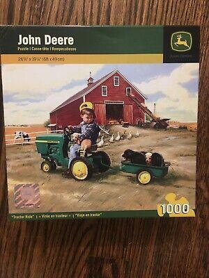 "John Deere 1000 Piece ""Tractor Ride"" Puzzle Boy Puppies Dog Barn Farm Geese"