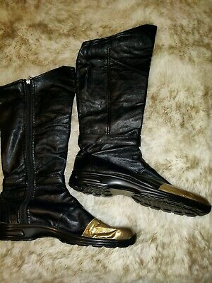 Gold Superhero Boots (New Men's High Boots Batman Super Hero Cosplay Costume Black Gold size)