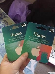 2x $50 iTunes cards Marks Point Lake Macquarie Area Preview