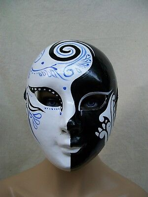 Painted Face Mask Harlequin Masquerade Creepy Day Night Stalker Cirque Pierrot - Pierrot Masks