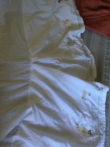 2 pottery barn bed skirts and one fitted sheet