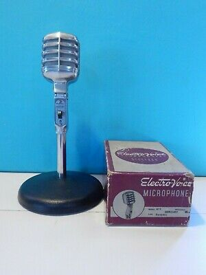 Vintage 1950S Electro Voice 611 Microphone In Original Box With Atlas Desk Stand