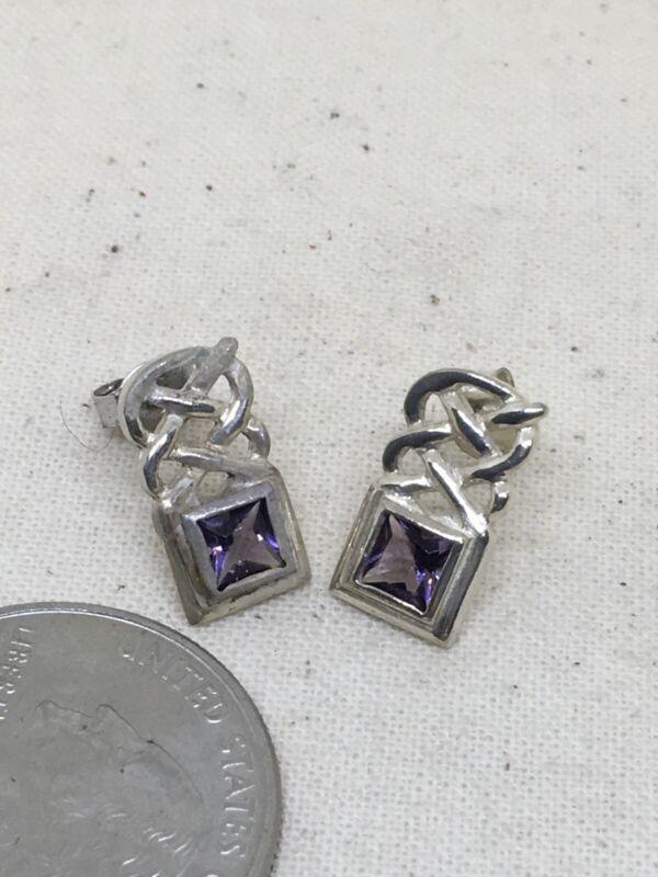 "Sterling Silver 1/2"" Celtic Amethyst Post Earrings 2.5g (5-32)"