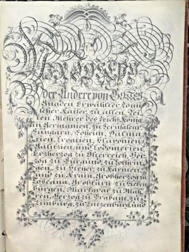 1782 Handwritten 18c Patent Of Nobility Emperor Joseph II Manuscript Calligraphy