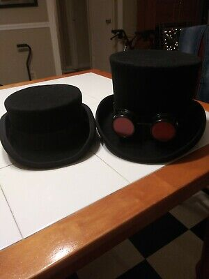2 Top Hats Mad Hatter And Shorty Steam Punk 100% Wool