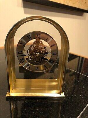 Vintage Sunbeam Quartz Brass Skeleton Clock 882-600 Desk Mantle EUC