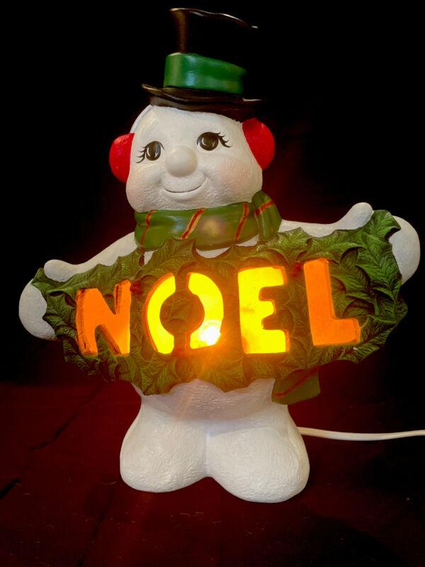 Vintage Light Up Ceramic Snowman Noel  Christmas Decoration Tabletop