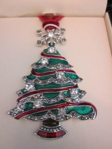 JUDITH JACK Christmas Tree Ornament Marcasite / Enameled ~ VINTAGE NEW in BOX