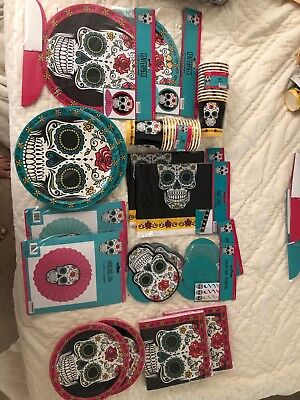 Day Of The Dead Party Supplies Dia de los muertos Plates,cups, Decorations Lot - Day Of Dead Party Supplies