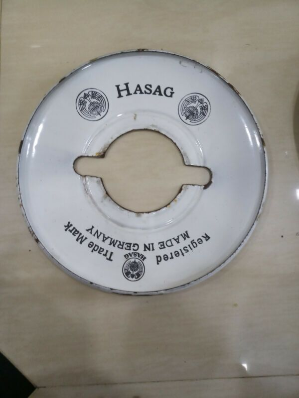 Vintage hasag petromax light small plate germany enamel porcelain lantern