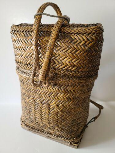 Vintage Ifugao Handwoven Wicker Basket Backpack