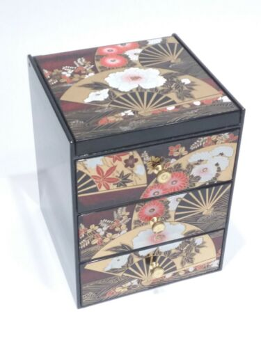 Chinese jewelry box plastic faux black lacquer finish with mirror