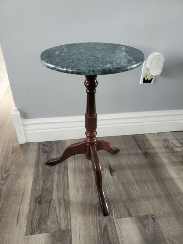 Bombay Company Pedestal Stand / Side Table W/ Green Marble Top - $79.00