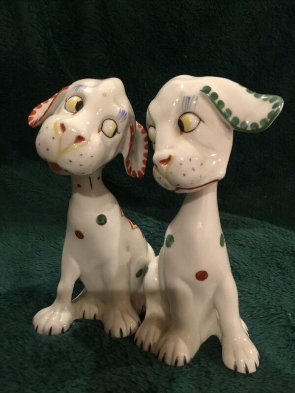 "VINTAGE LAVIN & LAUER PORCELAIN Art Deco DOG FIGURINES-GERMANY, 5"" TALL"