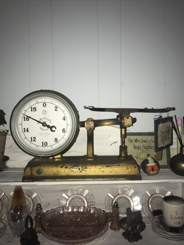 RARE VTG Chas Forschner & Sons Makers Double sided Glass front store scale