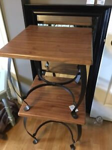 Faux wood side tables- 1 available