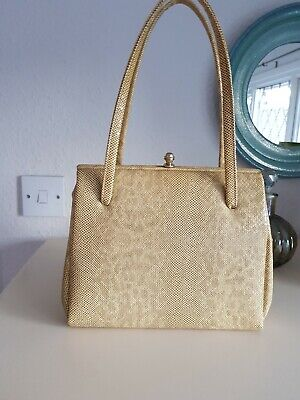 Vintage 1950s 1960s snakeskin style handbag, top handles, good vintage condition
