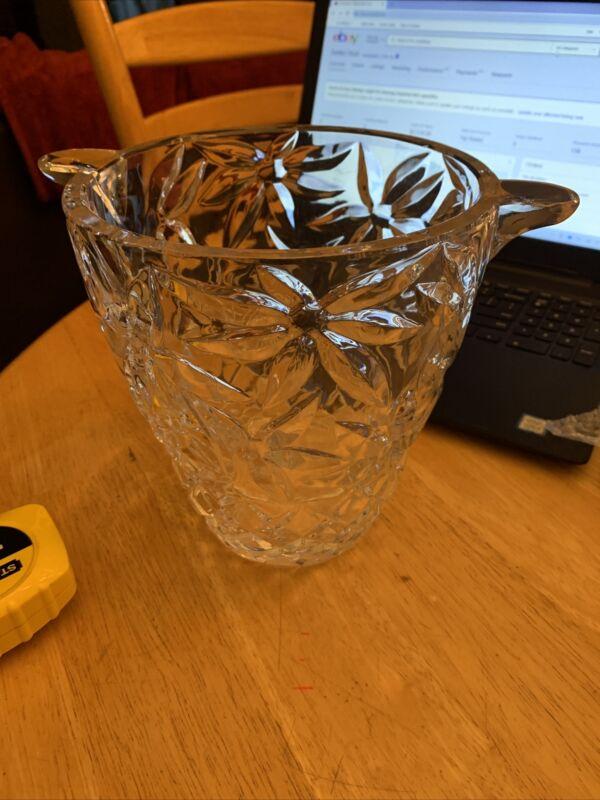 "Large Heavy Etched Glass Vase 7 3/4"" Tall Unique Handles 9.5"" Across vintage"