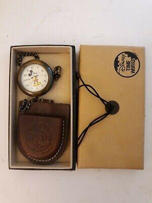 Vtg Disney Mickey Mouse Time Works Quartz Pocket Watch Brown Leather Case