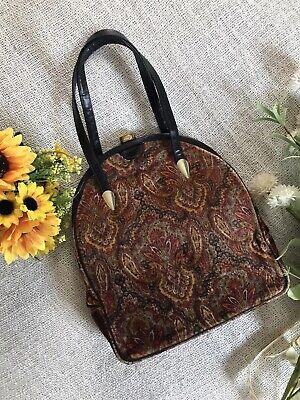 1950s Handbags, Purses, and Evening Bag Styles Vintage 1950's La France Velvet Baroque Paisley Black Gold Red Tones Handbag $15.00 AT vintagedancer.com